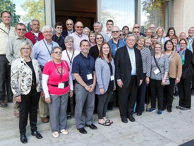 18.5. LuxStadt / Bischofshaus / Erzbischof Jean Claude Hollerich empfängt Reissegruppe aus Amerika auf Luxemburgtour Foto: Guy Jallay