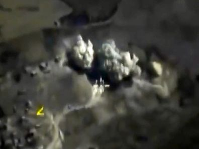 """A video grab made on October 3, 2015, shows an image taken from a footage made available on the Russian Defence Ministry's official website, purporting to show an explosion after airstrikes carried out by Russian air force on what Russia says was an underground explosives warehouse in Raqqa. President Vladimir Putin on October 1 dismissed claims that Russian air strikes had killed civilians in Syria as """"information warfare"""" but said Moscow would look into those reports. AFP PHOTO / RUSSIAN DEFENCE MINISTRY  � RESTRICTED TO EDITORIAL USE - MANDATORY CREDIT """" AFP PHOTO / RUSSIAN DEFENCE MINISTRY"""" - NO MARKETING NO ADVERTISING CAMPAIGNS - DISTRIBUTED AS A SERVICE TO CLIENTS �"""