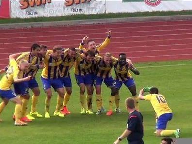 Les joueurs de Ventspils tout à leur joie