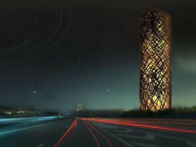 """Eindrucksvolle Lichtspiele: Nachts soll der Wasserturm, das """"Wahrzeichen"""" des Ban de Gasperich, zum Leuchtturm werden."""