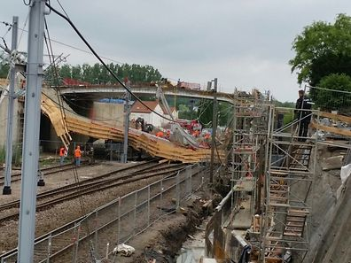 Am 10. Juli war die Brücke bei Arbeiten zusammengestürzt. Foto: Patrick Schmitt