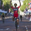 Luxembourg cyclist Jean-Pierre 'Jempy' Drucker riding for BMC Racing celebrates after crossing the finish line to win the Ride London - Surrey Classic road cycle race in central London on August 2, 2015. AFP PHOTO / JUSTIN TALLIS