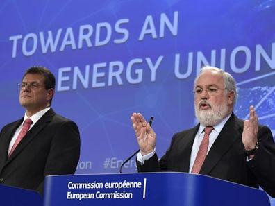 "EU Commissioner of Climate Action and Energy Miguel Arias Canete (R) gestures as he speaks next to EU Commissioner of Transport and Space Maros Sefcovic during a joint press conference entitled ""Energy Union: secure, sustainable, competitive, affordable energy for every European"" at the EU Headquarters in Brussels on February 25, 2015."