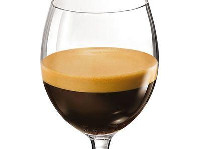 Die Form des Kaffee-Glases bringt das jeweilige Aroma optimal zu Geltung.