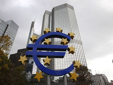 The EURO logo is pictured in front of the European Central Bank, ECB in Frankfurt/Main, Germany
