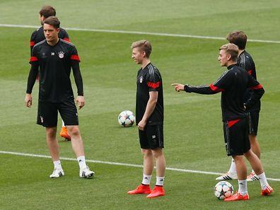 Die Spieler des FC Bayern München beim Training.