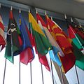 The Luxembourg flag at the US Department of State Harry S Truman building