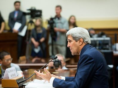 "U.S. Secretary of State John Kerry testifies before the House Foreign Affairs Committee on ""The ISIS Threat: Weighing the Obama Administration's Response,"""