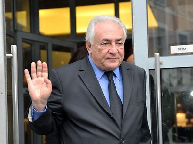 "Former IMF chief Dominique Strauss-Kahn leaves his hotel on February 16, 2015, in the northern French city of Lille to attend a session at the third week of the so-called ""Lille Carlton Hotel Case"" trial."