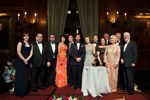 Prince Guillaume and Princess Stéphanie members of the Luxembourg Community and General Consul Jean-Claude Knebeler