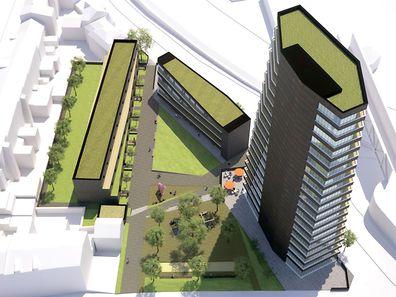 """Sollte das Projekt von Claude Konrath sich durchsetzen, könnte entlang des Boulevard J.F. Kennedy ein 60 Meter hoher Turm entstehen. Zum Vergleich: Die """"Maison du savoir"""" in Belval ist etwa 80 Meter hoch."""