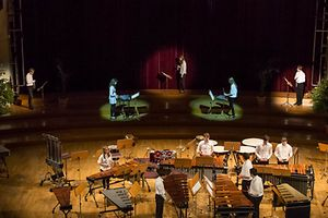 Students of the Conservatoire de Musique percussion ensemble performing at the event last year