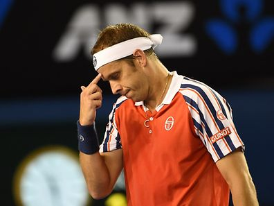 Luxembourg's Gilles Muller gestures during his men's singles match against Serbia's Novak Djokovic on day eight of the 2015 Australian Open tennis tournament in Melbourne