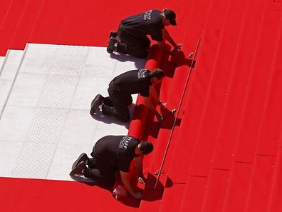 The red carpet in front of the Festival Palace in Cannesis one of the most famous in the world