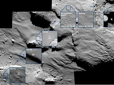 A mosaic of a series of images captured by Rosetta's OSIRIS camera over a 30 minute period shows the European Space Agency's lander Philae descending towards the Comet 67P/Churyumov–Gerasimenko before touchdown November 12, 2014