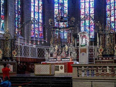 The votive altar in the Notre-Dame Cathedral, which is the Roman Catholic Cathedral of Luxembourg City. It was originally a Jesuit church and its cornerstone was laid in 1613. It is the only cathedral in Luxembourg.