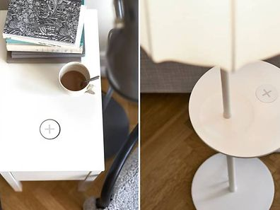 Die Ladefelder integriert Ikea in Schreibtische und Lampen.