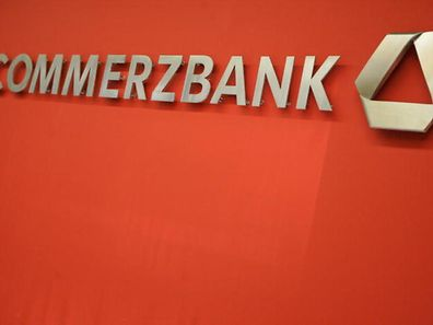 The Commerzbank logo at the entrance to its Luxembourg offices in Kirchberg