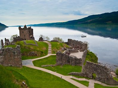 The famous Urquhart Castle at Loch Ness in Scotland