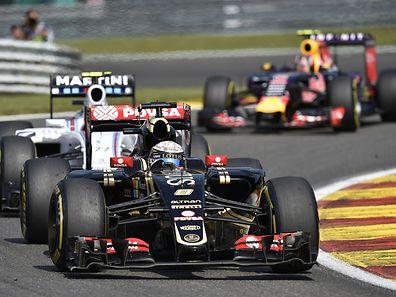 Lotus-Fahrer Romain Grosjean eroberte beim GP von Belgien Rang drei.