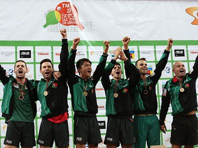 Portugal's tennis table celebrate on the podium after winning the match against Germany on Men's Championships Division final, today's 28th september 2014 in the TMS Table Tennis Team Championships in the Meo Arena in Lisbon. TIAGO PETINGA/LUSA