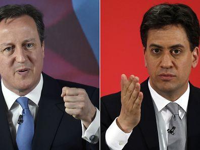 Ob David Cameron (l.)  denUmzugswagen in die Downing Street bestellen muss, ist kurz vor der Abstimmung völlig offen. Auch seinem Herausforderer Ed Miliband dürften Stimmen fehlen.