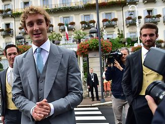Pierre Casiraghi (2nd L), Prince Albert II of Monaco's nephew, leaves the Des Iles Borromees Hotel on his way to the religious ceremony of his wedding with Beatrice Borromeo on August 1, 2015, in Stresa, on the Lake Maggiore in northern Italy. Casiraghi and Borromeo had their civil wedding in Monaco on July 25.  AFP PHOTO / GIUSEPPE CACACE