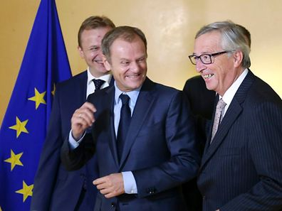 Incoming president of the European Council Donald Tusk and incoming president of the European Commission Jean-Claude Juncker