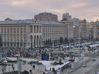 Ukrainians throng the streets on a holiday on the main square in Ukraine's capital Kiev