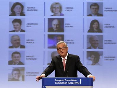 Jean-Claude Juncker, the incoming president of the European Commission (EC), presents the list of the European Commissioners and their jobs for the next five years