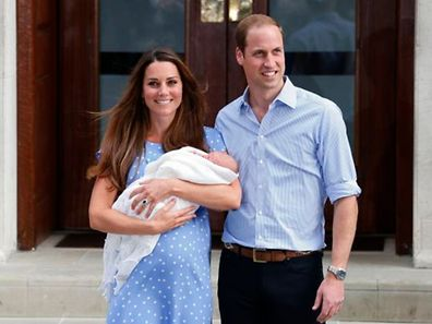 Prince William and the Duchess after the birth of Prince George