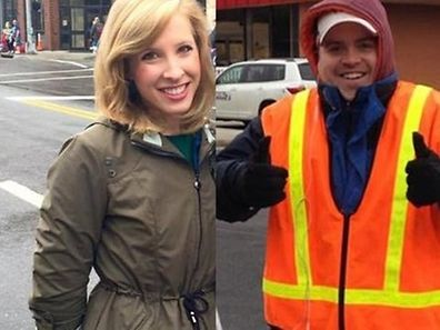 """This undated photo courtesy of WDBJ7-TV in Roanoke, Virginia shows Alison Parker and Adam Ward, two WDBJ7-TV employees, who were killed in an attack at Bridgewater Plaza in Moneta, Virginia on August 26, 2015. Reporter Alison Parker, 24, and cameraman Adam Ward, 27, were fatally shot at close range while conducting an on-air interview for WDBJ in Roanoke, about 240 miles (385 kilometers) southwest of Washington,DC. The man suspected of killing the two journalists as they carried out the live interview died Wednesday from a self-inflicted gunshot wound, a local official said. Vester Flanagan, also known as Bryce Williams, died at a hospital in northern Virginia outside Washington, after the shooting, Franklin County Sheriff Bill Overton told reporters. AFP PHOTO/WDBJ7/HANDOUT = RESTRICTED TO EDITORIAL USE�- MANDATORY CREDIT """"AFP PHOTO /WDBJ7-TV """" -�NO MARKETING NO ADVERTISING CAMPAIGNS - DISTRIBUTED AS A SERVICE TO CLIENTS ="""