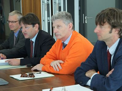 Luxembourg, ce mardi 30 juin, au Conseil de la concurrence: (de g. à dr.) Jean-Claude Weidert, Pierre Rauchs, Marc Feyereisen et Mattia Melloni