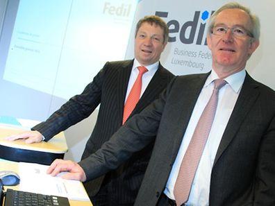 Le président de la Fedil, Robert Dennewald, et son directeur, Nicolas Soisson, ont rappelé leurs engagements... et ceux du gouvernement
