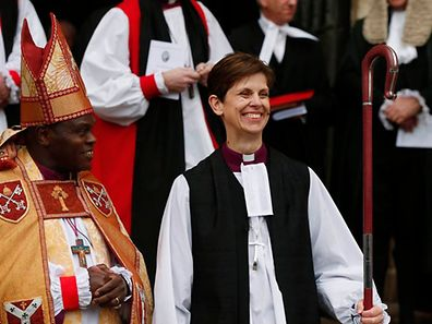 The first female bishop in the Church of England Libby Lane steps outside following her consecration service at York Minster in York, northern England January 26, 2015.