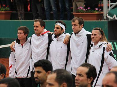 Gilles Muller (2. v. r.) könnte im Davis Cup vor eigenem Publikum auftreten.