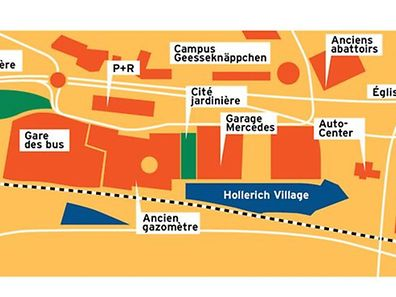 A graphic of the area concerned by new development Hollerich Village