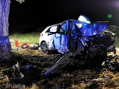 A young driver lost control of his vehicle and hit a tree head-on
