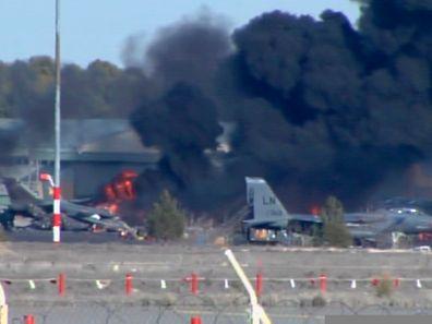 Image extraite d'une vidéo sur la base aérienne d'Albacete en Espagne le 26 janvier 2015