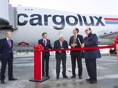 Begrüßungszeremonie für die neue Cargolux-Boeing am Flughafen Findel.