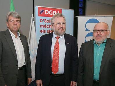 (Da esq. p/ dta.:)  Romain Wolff, secretário-geral da CGFP, o presidente da OGBL, Jean-Claude Reding e Patrick Dury, presidente do LCGB
