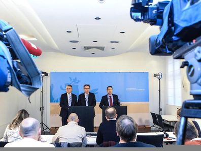 Labour Minister Nicolas Schmit, Finance Minister Pierre Gramegna & PM Xavier Bettel at a press briefing shortly after the LuxLeaks files were made public