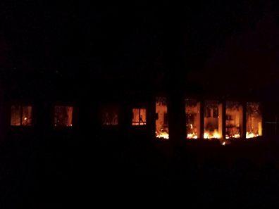 Un hôpital de MSF en feu après avoir été bombardé, à Kunduz, Afghanistan, le 3 octobre