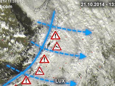 Die Kaltfront erreicht auch Luxemburg. Betroffen davon ist vor allem der Norden des Landes.
