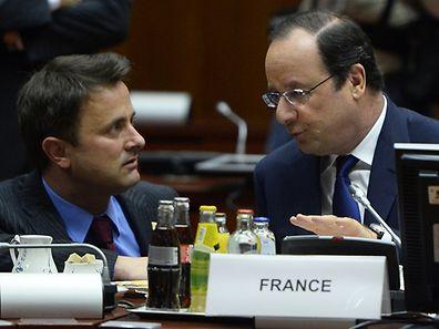 Xavier Bettel et François Hollande au Conseil européen du 21 mars 2014