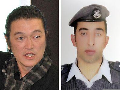 Japanese journalist Kenji Goto (l.) and Jordanian pilot Maaz al-Kassasbeh