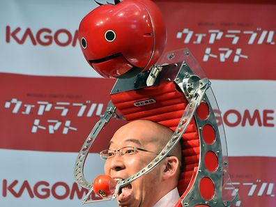 "Japan's food company Kagome employee Shigenori Suzuki tries to eat a tomato which is provided from the newly developed tomato dispenser for marathon runner ""Tomachan"" during a demonstration"