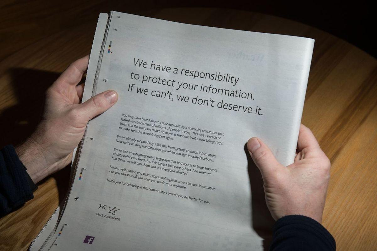 Le 25 mars, Mark Zuckerberg et Facebook se sont offert une pleine page dans la plupart des journaux britanniques pour s'excuser du problème