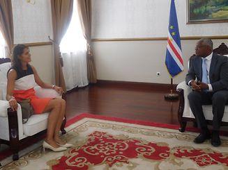 Angèle da Cruz foi recebida em audiência pelo Presidente da República interido de Cabo Verde, Jorge Santos