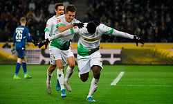 Moenchengladbach's Swiss forward Breel Embolo (R) celebrates with German forward Patrick Herrmann after scoring a goal during the German first division Bundesliga football match Borussia Moenchengladbach vs SC Freiburg in Moenchengladbach, western Germany on December 1, 2019. - Moenchengladbach's Swiss forward Breel Embolo (R) celebrates with German forward Patrick Herrmann after scoring a goal during the German first division Bundesliga football match Borussia Moenchengladbach vs SC Freiburg in Moenchengladbach, western Germany on December 1, 2019. (Photo by INA FASSBENDER / AFP)